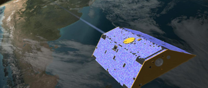 Artist's concept of the twin GRACE satellites. Credits: NASA/GSFC
