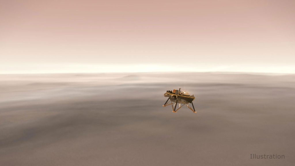 Illustration shows a simulated view of NASA's InSight lander firing retrorockets to slow down as it descends toward the surface of Mars.
