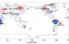 Figure 1. Land water storage contributions from large river basins to global mean sea level rise rate derived from GRACE gravity data. Red (blue) colors represent global mean sea level rise (drop) associated with land water storage decrease (increase). The newly estimated total land water contribution is about 0.32 ± 0.02 mm/year.  Photo Credit: Courtesy of University of Texas at Austin, Center for Space Research.