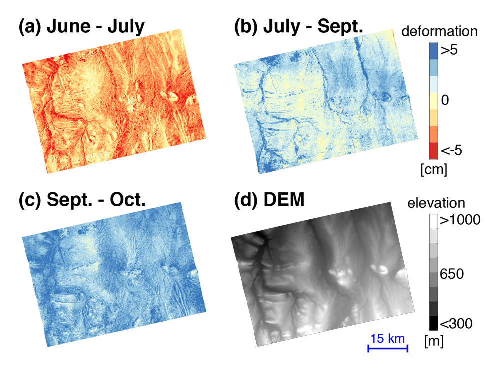 Wu is using the InSAR technique to study the hydrological properties of the Arctic tundra soils. Images: (a) seasonal surface deformation from early June to late July; (b) seasonal surface deformation from late July to September; (c) seasonal surface deformation from September to October; (d) Digital Elevation Model. Red indicates surface subsidence, and blue indicates surface uplift.