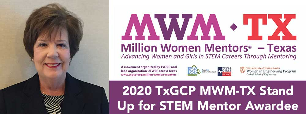 Margaret Baguio, Program Manager, Education and Outreach, awarded Million Women Mentors – Texas 2020 Stand Up for STEM Mentor Award.