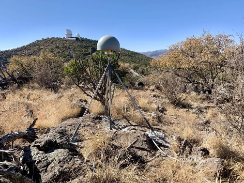 GNSS receiver MG03 in the valley between Mt. Fowlkes and Mt. Locke.