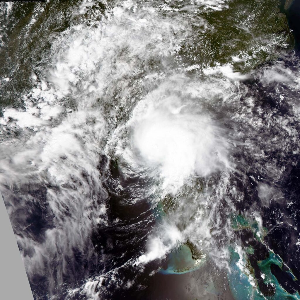 Visible color image from NASA's Aqua MODIS instrument showing Elsa crossing the upper Gulf coast of Florida